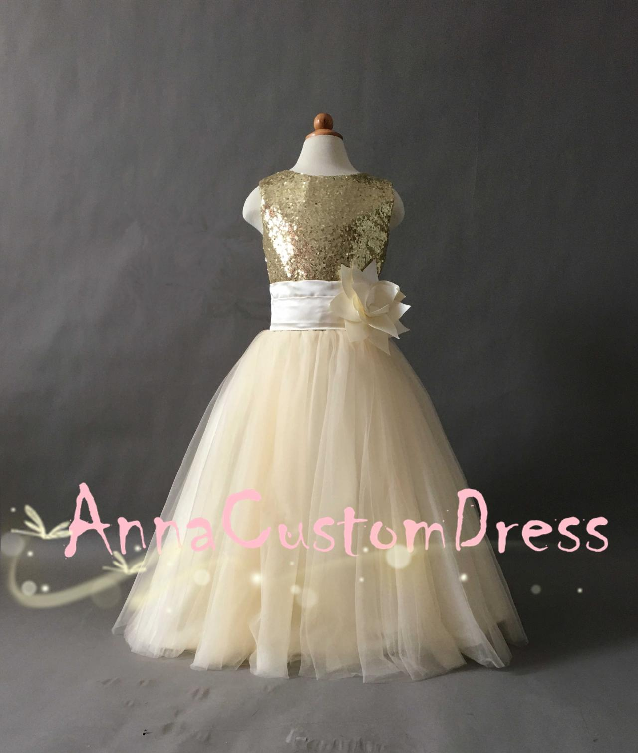 Scoop Floor length Gold Sequin Cream Tulle Flower Girl Dress on Luulla
